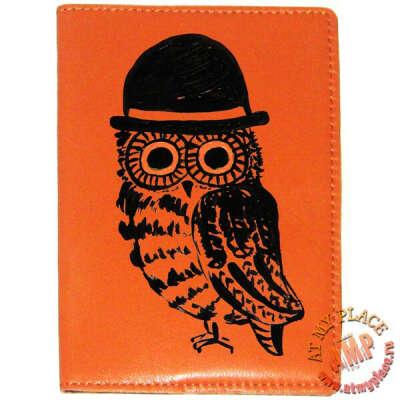 """Оранжевая обложка на паспорт """"Сова в шляпе"""""""