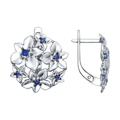 Серьги из серебра с синими фианитами «Цветы»