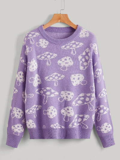 Грибной лавандовый свитер