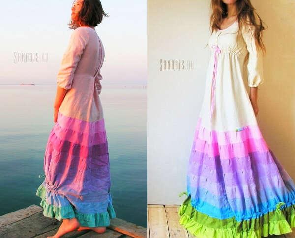 Радужное льняное платье