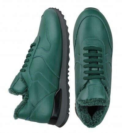 Купить Кожаные зеленые кроссовки на меху (W) в интернет-магазине обуви Lapti