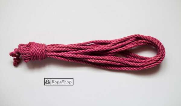 Красная веревка для шибари джутовая обработанная