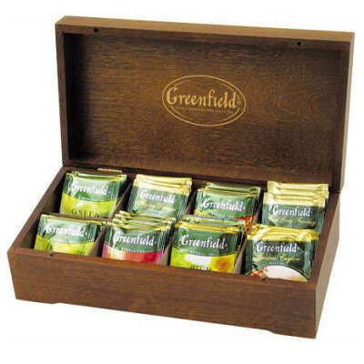 Деревянная шкатулка Greenfield, с набором из 8 видов чая