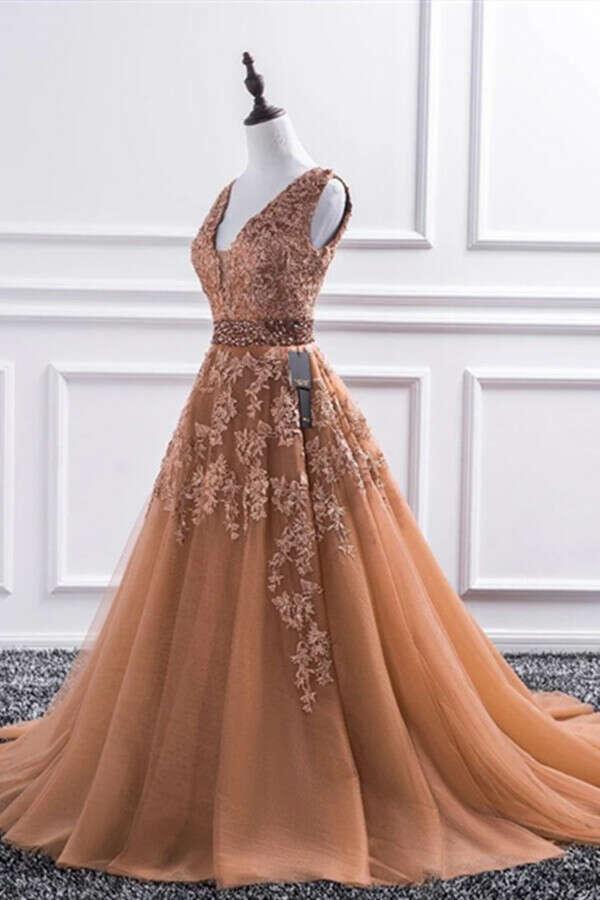Promfast Champagne V Neck Lace Long Prom Dresses, Lace Formal Dresses, Evening Dress PFP1992