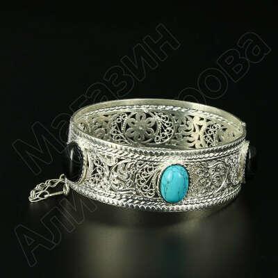 Кубачинский серебряный браслет с филигранью (камень - бирюза, агат)