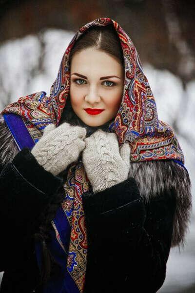 Павлопосадский платок из шерсти