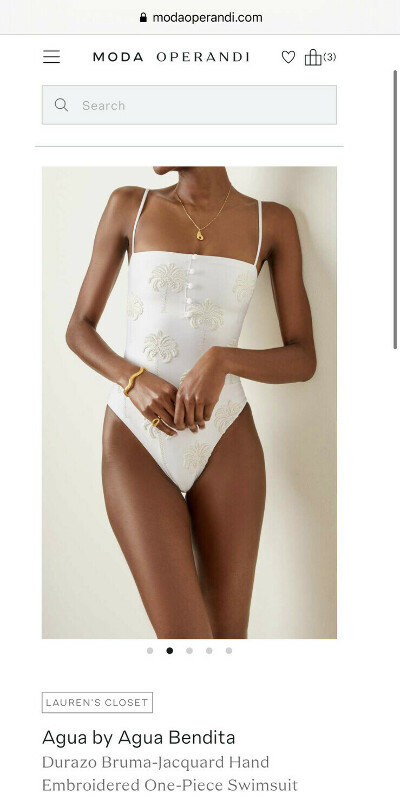 Durazo Bruma-Jacquard Hand Embroidered One-Piece Swimsuit
