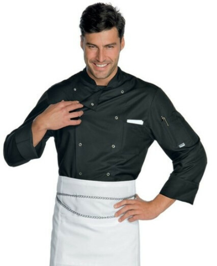 Giacca cuoco chef Isacco 058001 – colore nero bottoni a pressione – uomo