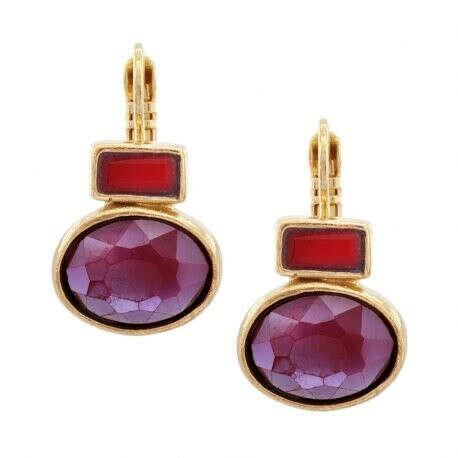 TARATATA | Купить Серьги Face a face золотистые с красными кристаллами