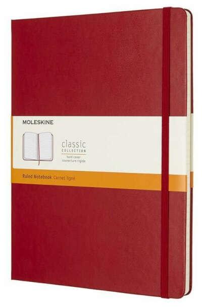 Блокнот Moleskine Classic XLarge (15x25), твердый переплет, в линейку, цвета: Красный / Бежевый / Бирюзовый