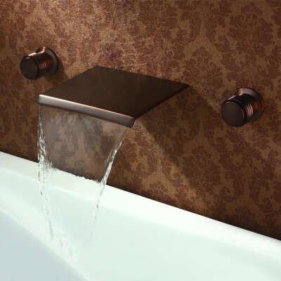 Black bronze ORB wall waterfall bathroom sink faucet At FaucetsDeal.com