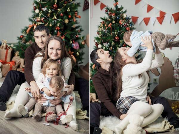 Семейную новогоднюю фотосессию
