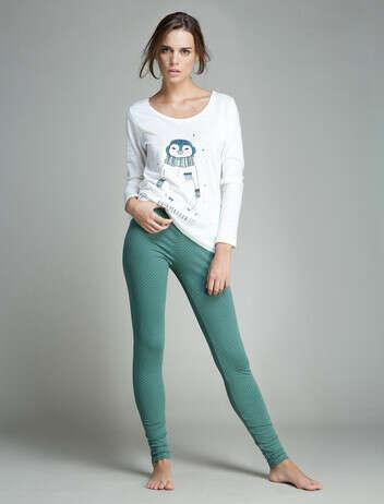 Пижама с пингвином( зеленая гамма)