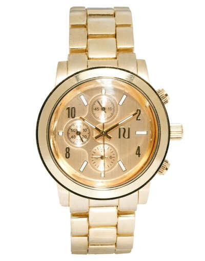 Золотистые часы с хронографом River Island Emily