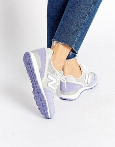 New Balance 996 Pastel Grey/Lilac Suede Trainers at asos.com