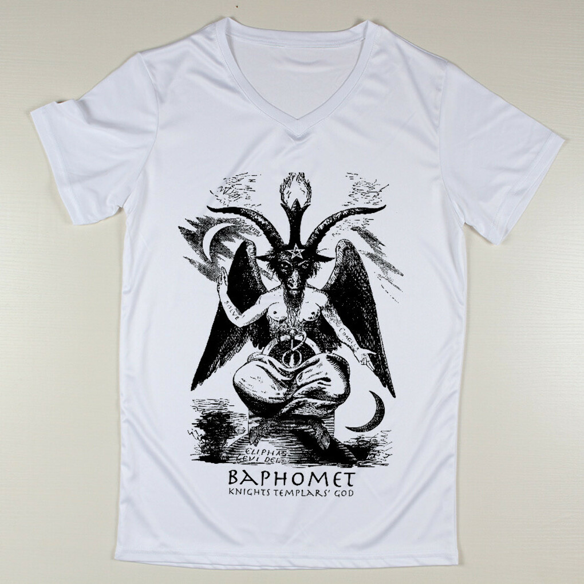 Stylish Baphomet  Printing Cute Sale Short Sleeve FitBuy Man V Neck White T Shirts Online купить на AliExpress