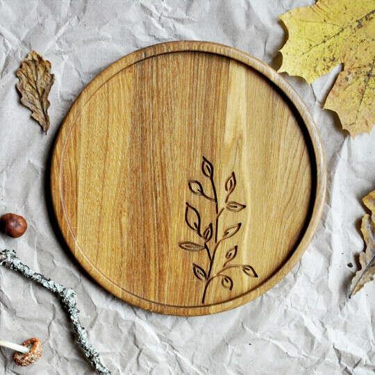 Тарелка - поднос деревянная Ветвь