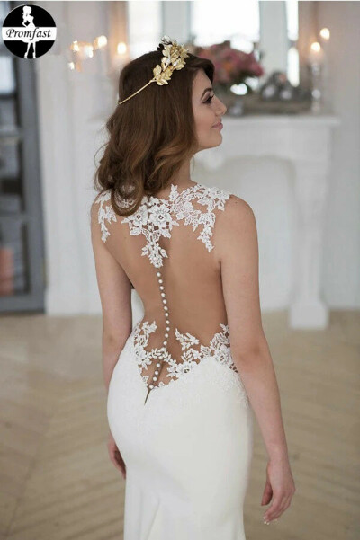 Promfast Lace Stunning Mermaid Sleeveless Wedding Dress Zipper Button PFW0480