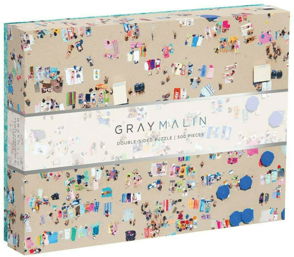 """Galison Gray Malin 2-Sided Jigsaw Puzzle, The Beach, 500 Pieces - 24"""" x 18"""", Double-Sided Puzzle with Vibrant Artwork, Perfect for Family Fun"""