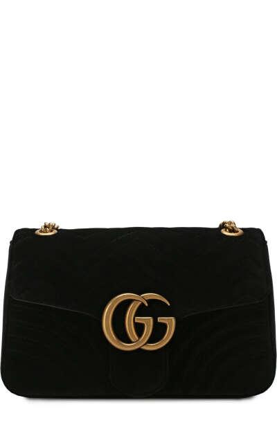 Женская черного сумка gg marmont medium GUCCI — купить за 147500 руб. в интернет-магазине ЦУМ, арт. 443496/K4D2T
