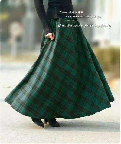 Юбка макси из зеленой шотландки