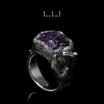 "Ring ""The Amethyst Tree"". Silver, amethyst crystal, diamond"
