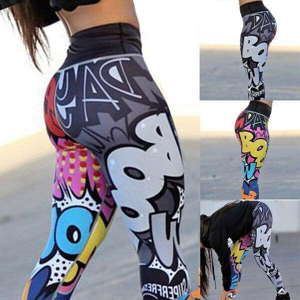 Легінси Nessaj смішні графіті бум лист друку тренажерний зал довгі брюки високою талією легінси – купити за низькими цінами в інтернет-магазині Joom
