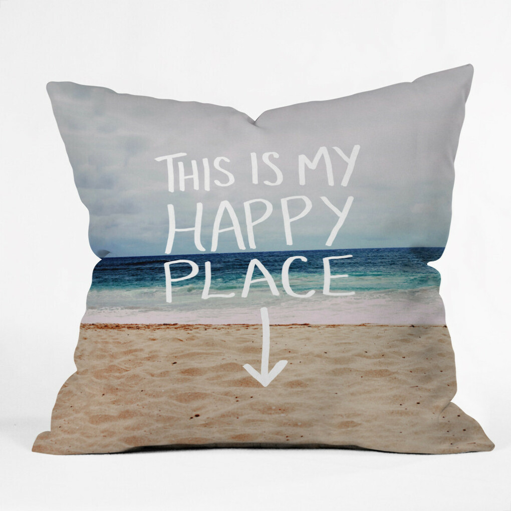 Leah Flores Happy Place X Beach Throw Pillow | DENY Designs Home Accessories