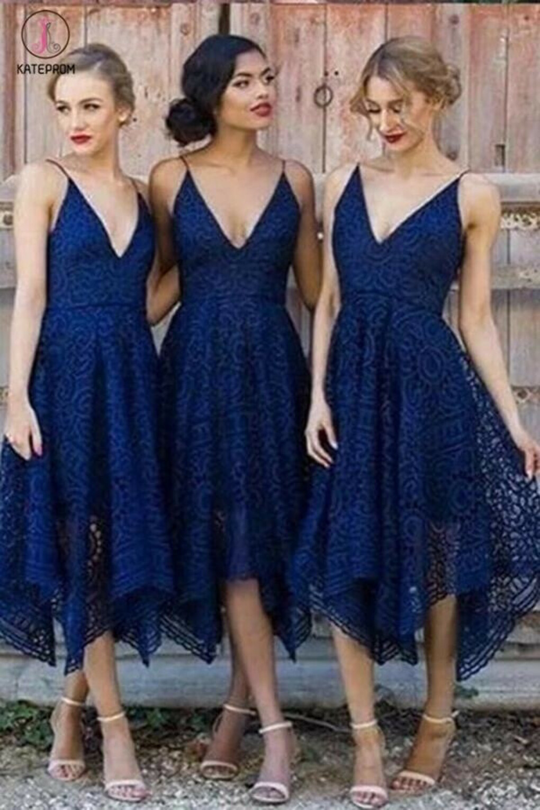 Asymmetrical V Neck Lace Bridesmaid Dress, Cheap Lace Sleeveless Bridesmaid Gown KPB0018