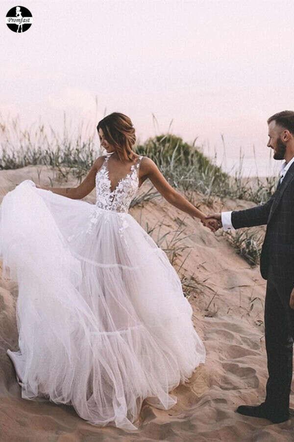 Promfast Unique Appliqued A-line Tulle Wedding Dresses With Chapel Train PFW0539