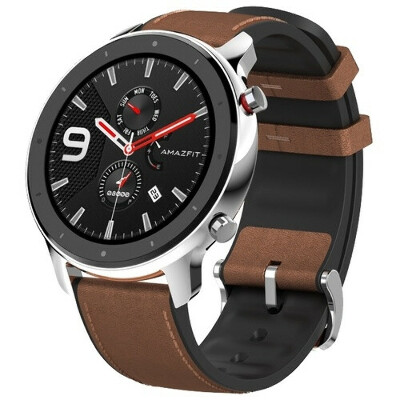 Amazfit GTR (47mm. stainless steel case, leather strap)
