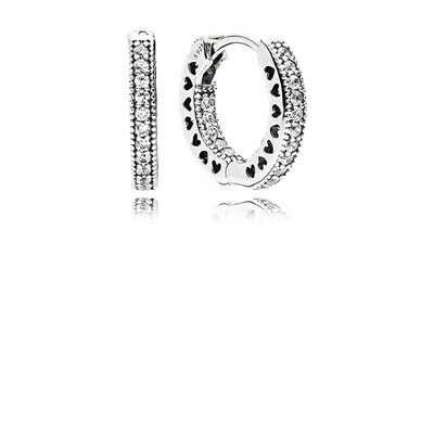 PANDORA   Серьги - кольца Сердца PANDORA