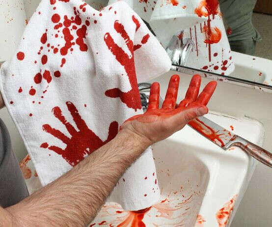 Bloody hand towel