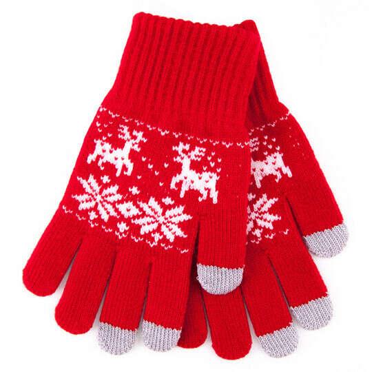 Перчатки сенсорные 'Norwegian Pattern'  / Красный