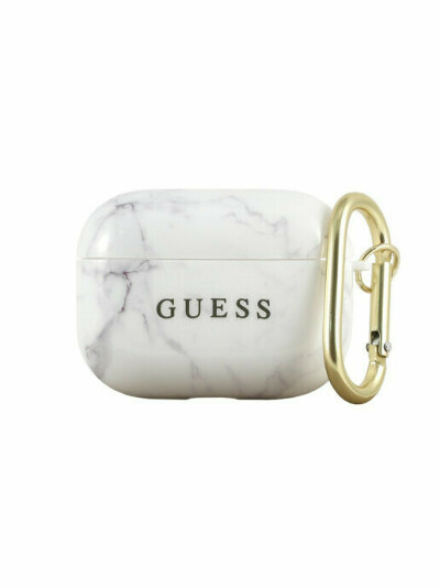 GUESS / Чехол для Airpods Pro TPU case with ring Marble design White