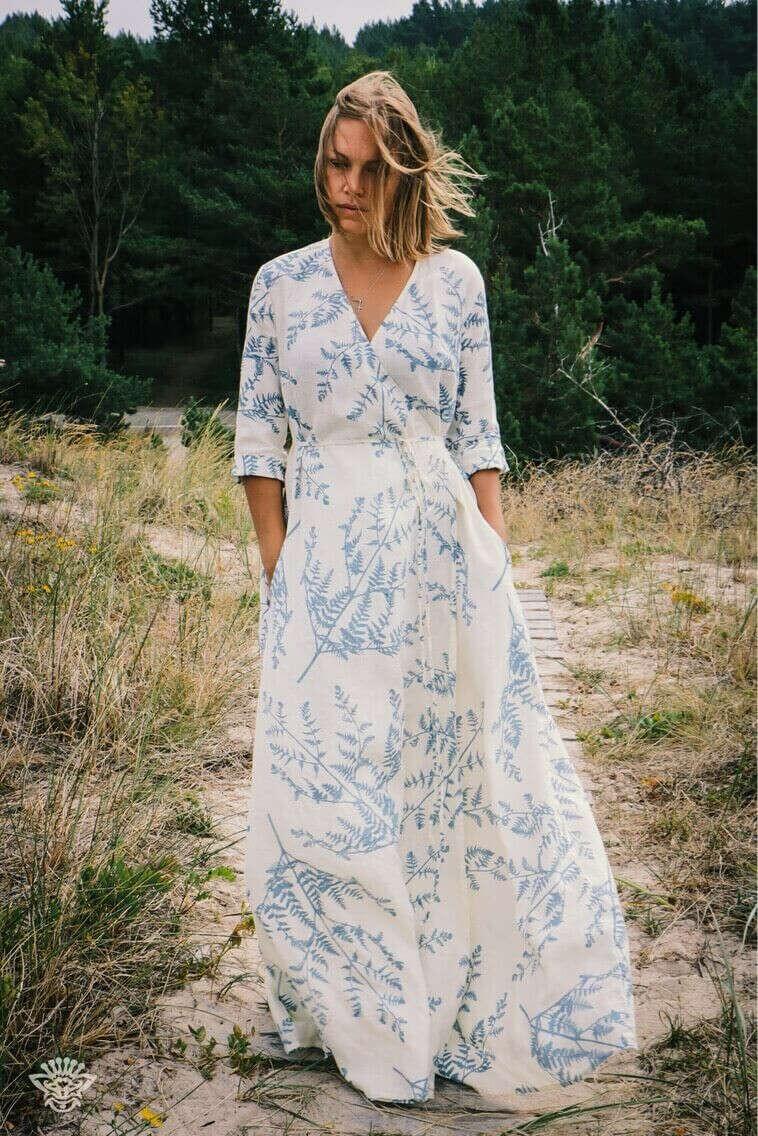 Платье Тонкий Папоротник (на запах)