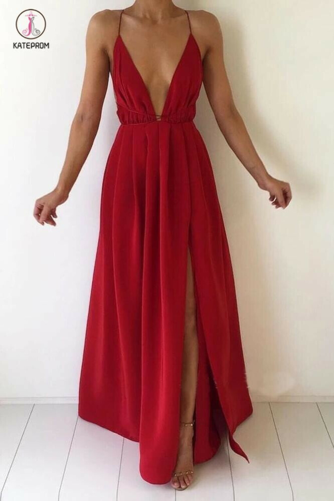 Red Deep V-neck Chiffon Backless Prom Dress with Slit,Sexy Evening Dresses,Maxi Dress KPP0400