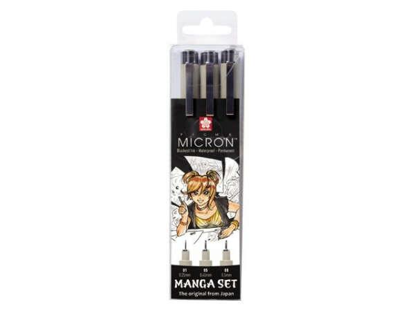 Набор линеров PIGMA MICRON MANGA 3шт 0,1/0,5/0,8 черный