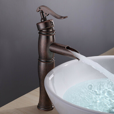 Antique Copper Finish Bathroom Sink Faucet with Vintage Centerset At FaucetsDeal.com