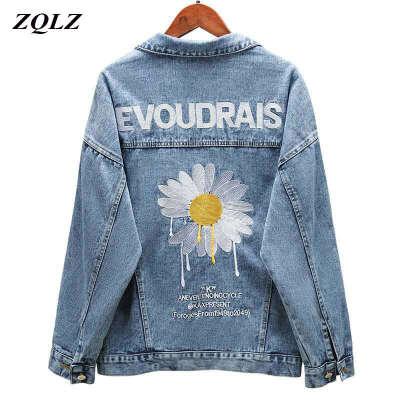 1462.63руб. 27% СКИДКА|Женская джинсовая куртка ZQLZ, свободная однобортная куртка с вышивкой, повседневная куртка черного цвета на весну, 2020|Куртки|   | АлиЭкспресс