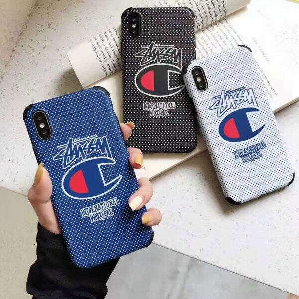 ステューシー チャンピオンコラボ iPhone11/11 Pro/Pro Maxケース 個性 アイフォンXR/XS/XS MAXカバー ブラント iPhone x/8/7 plusケース 男女向け