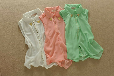 Блуза-жилет с уголками на воротнике
